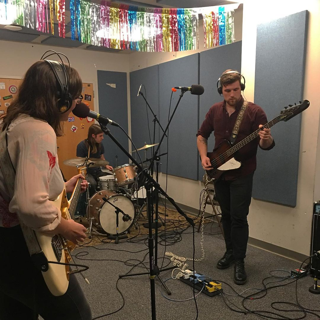 Photo of So Totally during recording of their WPRB studio session